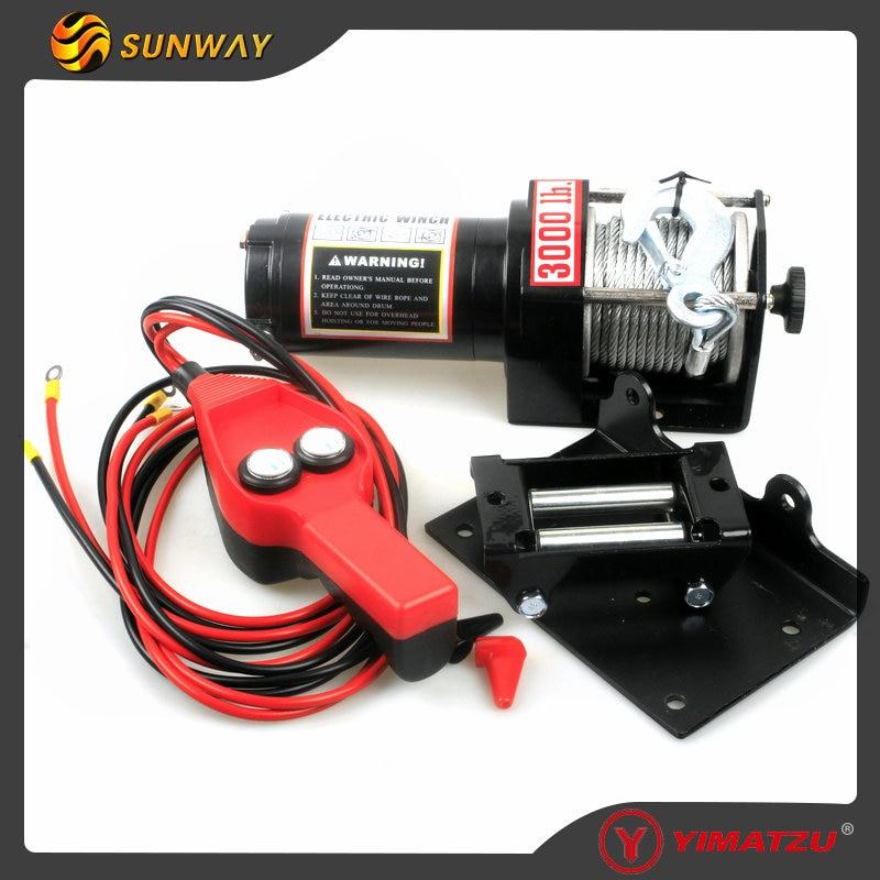 SUNWAY Parts 3000LB Electric Winch for Polaris Yamaha Suzuki 300-1000cc ATV UTV XUV Bike 3500lb winch electric winch 12v 4x4 utv atv winch free shipping