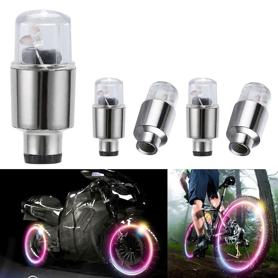 4pcs LED Car Wheel Tyre Tire Air Valve Stem Cap Light Lamp Neon Flash Lights Flashlight For Bike Car Motocycle Support