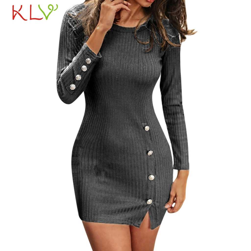 81d498f33dc9 ... Dress Women Sweater Sexy Button Long Sleeve Winter Dress Elegant Big  Size For Evening Party Night ...
