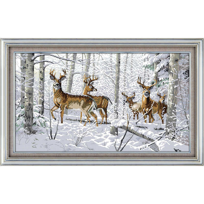 Everlasting love Christmas Antelopes in the snow Ecological cotton Chinese cross stitch kits counted stamped new sales promotion