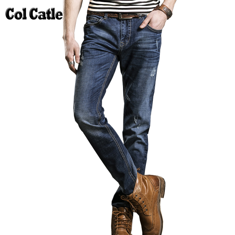 New Autumn Men's Jeans Fashion Slim Fit Jeans Men Pants Brand Clothing Denim Trousers Elastic Cotton Long Straight Male Jeans 38 new men s autumn elastic black brand jeans casual fashion straight cassical denim pants men slim male jeans meth pant for man