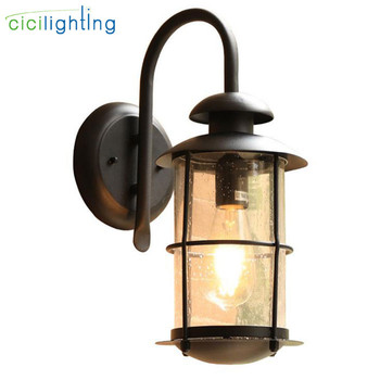 Outdoor Garden Porch Wall Lights,IP54 E27 100-240V black glass shade exterior wall sconces,Waterproof lamp for front door fence