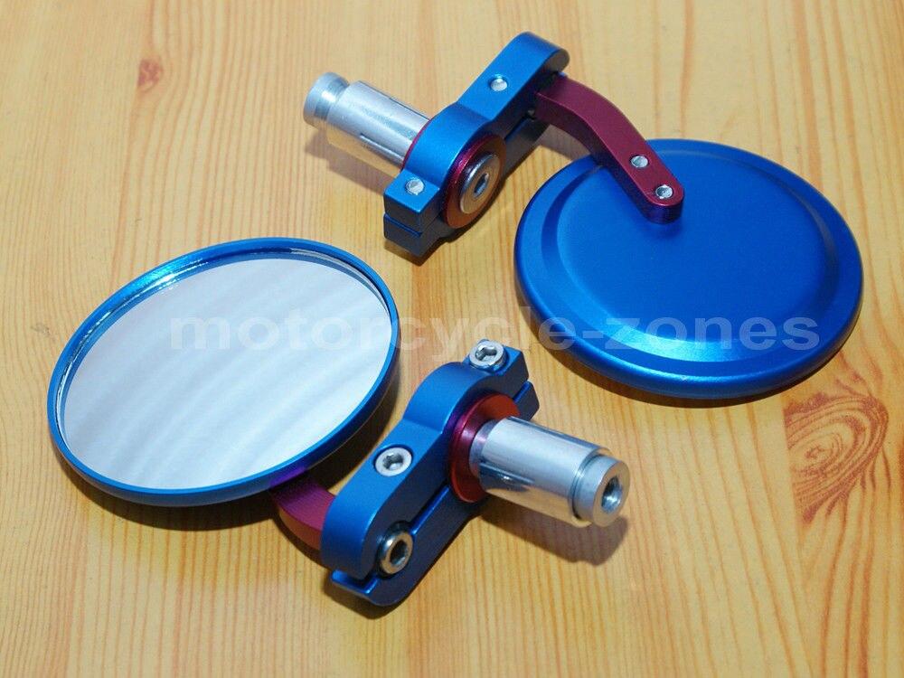 """Blue Rear Handle Bar End 7//8/"""" Mirror For Honda Kawasaki Suzuki Yamaha Aprilia"""