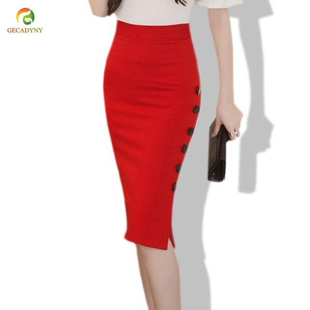 ae7d223c8580d5 € 11.19 6% de réduction|Jupe crayon taille haute moulante mode femmes jupe  Midi rouge noir Sexy fente ouverte boutons Slim OL jupes crayon taille S ...