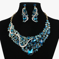 BEAUTY Blue Crystal Indian Jewelry sets Hot Sale New Fashion Party Jewelry, Wedding Women's Earrings Necklace set For Brides