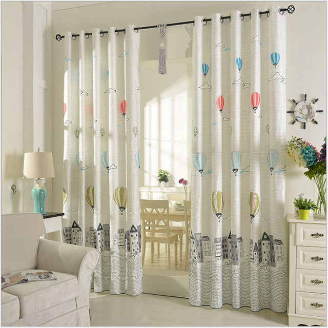 1pair Elephant Animal Print Curtains Grommet Top Window Curtain Children Room Kids Decoration Balloon Cartoon B16306