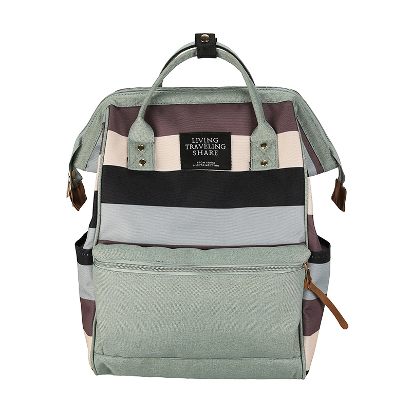 Newest anello ring striped backpack canvas school printing ring bag travel backpack womens male backpack youth bag