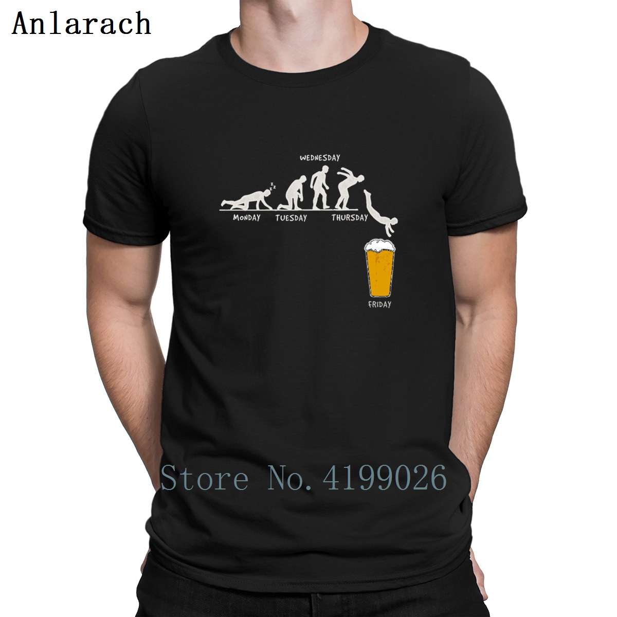 Week Craft Beer Design Funny T-Shirt Euro Size Formal Creative T Shirt For Men Solid Color Hip Hop Comical Tee Shirt Funky