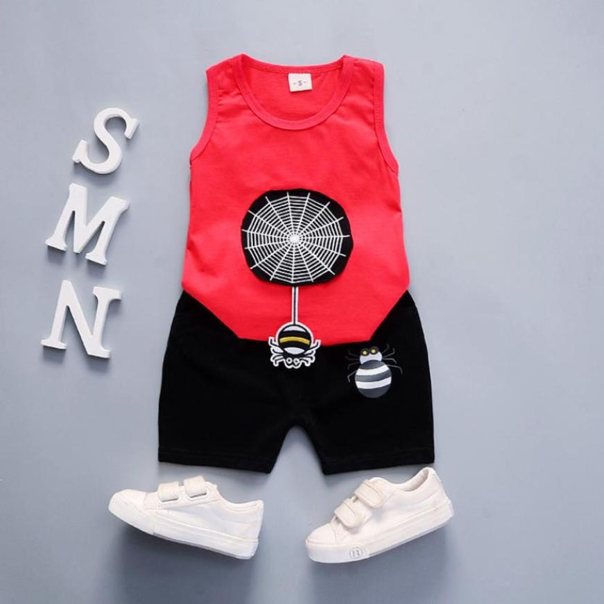 2 Stücke Neugeborenen Jungen Bekleidung Set Fashion Cartoon Spider Sleeveless Oansatz Sommer Tops + Shorts Hosen Outfit Sets 2018