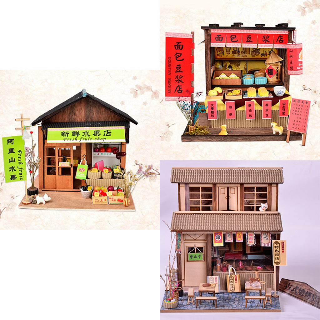 Us 410 29 Offdiy Handicraft Miniature Project Wooden Dolls House Antique Chinese Bbq Breakfast Fruit Shop Gift In Doll Houses From Toys