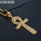 Hip Hop Iced Out Bling Ankh Cross Pendant Necklace For Women/Men Gold Color Stainless Steel Rhinestones Necklace Egypt Jewelry