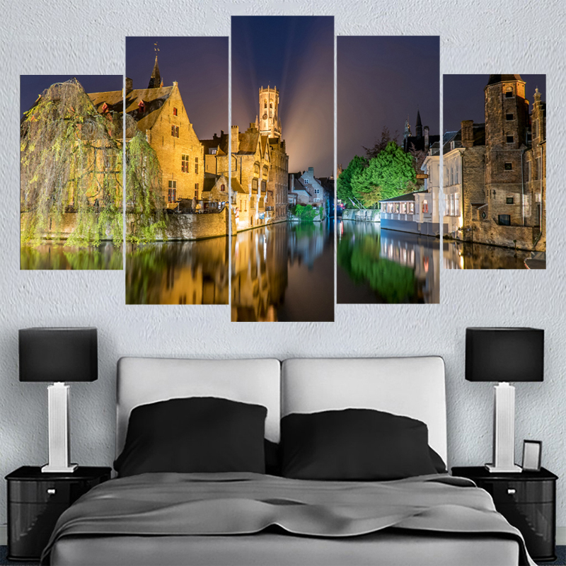 Home Decor Wall Art Belgium Night Landscape Canvas Paintings HD Printed Framed Or Unframed Canvas Painting For Bed Living Room
