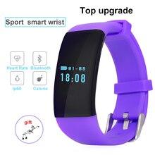 DFit IP68กีฬาสมาร์ทสายรัดข้อมือนาฬิกาสำหรับAndroid IOSอัตราการเต้นหัวใจT Ackerออกกำลังกายสร้อยข้อมือสมาร์ทสำหรับiPhoneซัมซุงHuaweiผู้หญิง