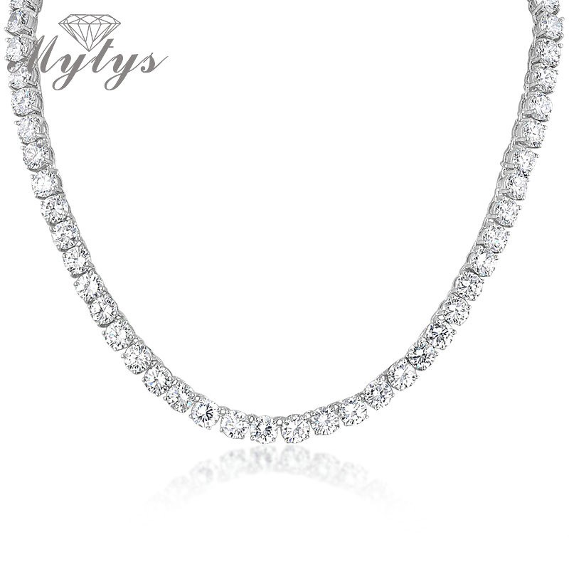 Mytys  Fashion AAAAA Cubic Zirconia Tennis Necklace For Women White Gold GP Weeding Bridal Necklace Free Shipping Gift N871Mytys  Fashion AAAAA Cubic Zirconia Tennis Necklace For Women White Gold GP Weeding Bridal Necklace Free Shipping Gift N871