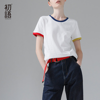 Toyouth 2016 New Arrival Summer Women Loose O Neck Casual Fashion Cotton Pocket Simple Splice Sleeve