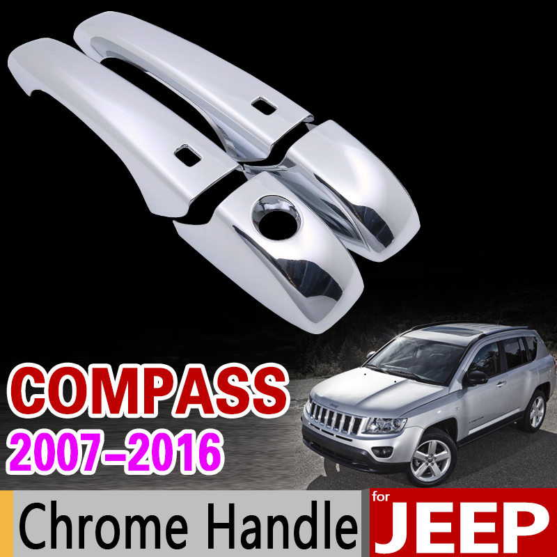 for <font><b>JEEP</b></font> <font><b>Compass</b></font> 2007-2016 <font><b>Chrome</b></font> Handle Cover Trim Set 2008 2009 2010 2011 <font><b>2012</b></font> 2013 2014 2015 Car Accessories Car Styling image