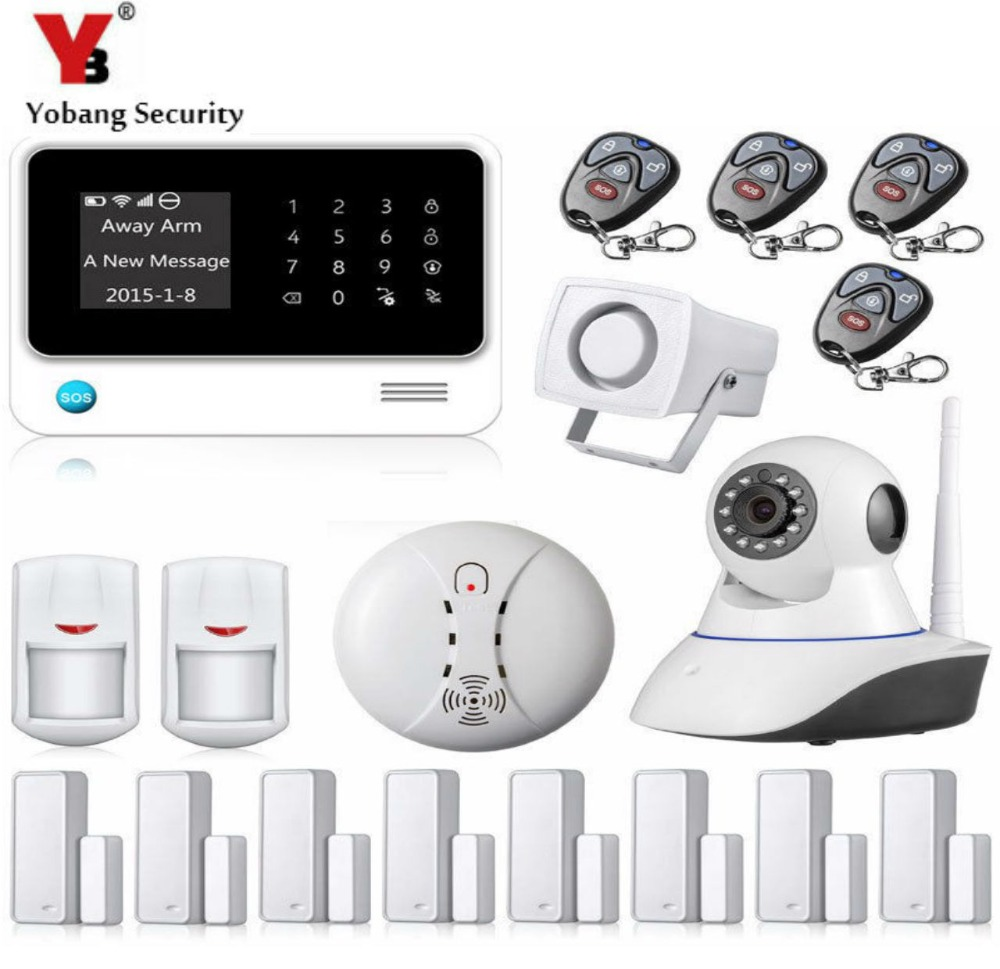 YobangSecurity Android IOS APP Smart Home System WiFi GSM Home Security Alarm System with IP Camera PIR Door Alarm Sensor yobangsecurity wifi gsm gprs home security alarm system android ios app control door window pir sensor wireless smoke detector