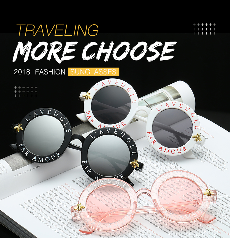4ad5923dd86 L aveugle Par Amour Round Sunglasses Women Distinctive Fashion ...