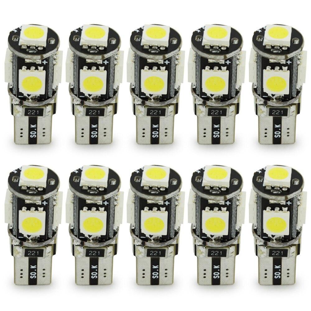 Safego 10 шт. светодиодный T10 Canbus 5 SMD 5050 194 168 без ошибки T10 W5W светодиодный Canbus OBC error free светодиодный источник света автомобиля, на танкетке, с боковой лампы-in Сигнальная лампа from Автомобили и мотоциклы