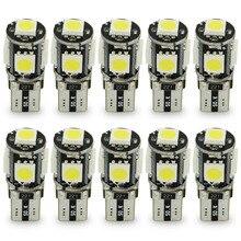 Safego 10 pièces de lampe de voiture Canbus 5 SMD LED 5050 194, sans erreur, T10 W5W 168, canbus OBC, LED, Source lumineuse de voiture, lumière latérale, sans erreur, LED