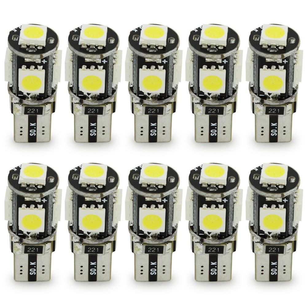 Safego 10pcs LED T10 Canbus 5 SMD 5050 194 168 No error T10 W5W LED canbus OBC Error free LED Car Light Source wedge side lamp 2x warm white 2700 3200k t10 w5w 168 194 5050 100lm led 4 smd canbus error free car wedge light bulb auto interior lights 12v