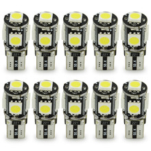 10pcs T10 Canbus 5LED 5050 bulb 5SMD LED T10 194 W5W 5050 5SMD Car T10 Indicator bulb reading bulb dome light Car Light Source high quality 200 pcs lot t10 w5w 194 5smd 5led 5050 bulb light car led smd light 12v dc light
