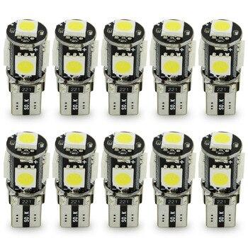 цена на Safego 10pcs LED T10 Canbus 5 SMD 5050 194 168 No error T10 W5W LED canbus OBC Error free LED Car Light Source wedge side lamp
