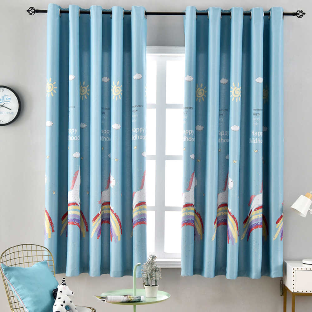 Rainbow window curtains Window Curtains For Girls Living Room Blue Curtains for Kids Boys Bedroom Short Window Door Drapes PC06X