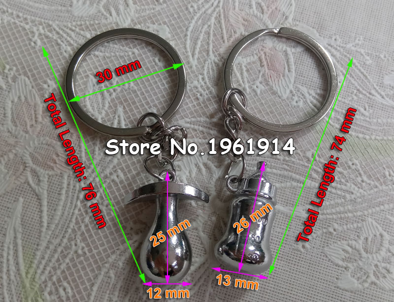 Free shipping 100sets=200pcs/lot metal pacifier and feeding bottle key chain favors baby shower souvenirs, party giveaways