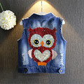 Wholesale Kids Jeans Vest Fashion Owl Children Boy Girls Denim Vest Waistcoat Baby Girl Jacket Outwear 5PCS/lot