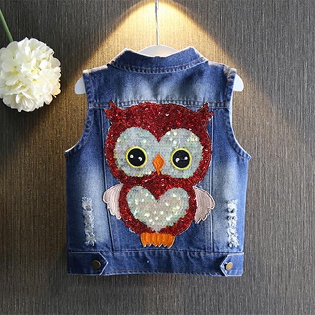 Wholesale Kids Jeans Vest Fashion Owl Children Boy Girls Denim Vest Waistcoat Baby Girl Jacket Outwear 5PCS/lot