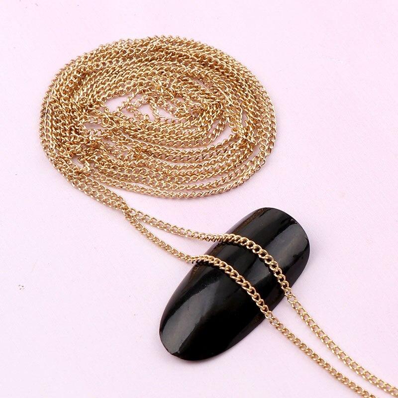 0,8 ~ 1 Meter Breite 1mm Länge Japanischen 3d Gold Nagel Metall Kette Diy Stahl Kugel Nagel Kette Punk Stil Nail Art Dekoration