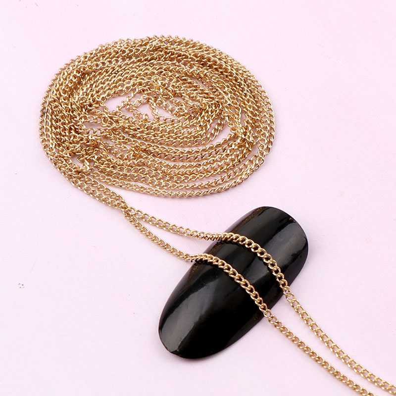 0.8~1 Meter Width 1mm Length Japanese 3D Gold Nail Metal Chain DIY Steel Ball Nail Chain Punk Style Nail Art Decoration
