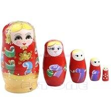 5Pcs New Wooden Hand Painted Russian Nesting Dolls Babushka Matryoshka Gift Toy #H055# 5pcs cute wooden dolls animal paint nesting babushka russian dolls children early education birthday matryoshka gift