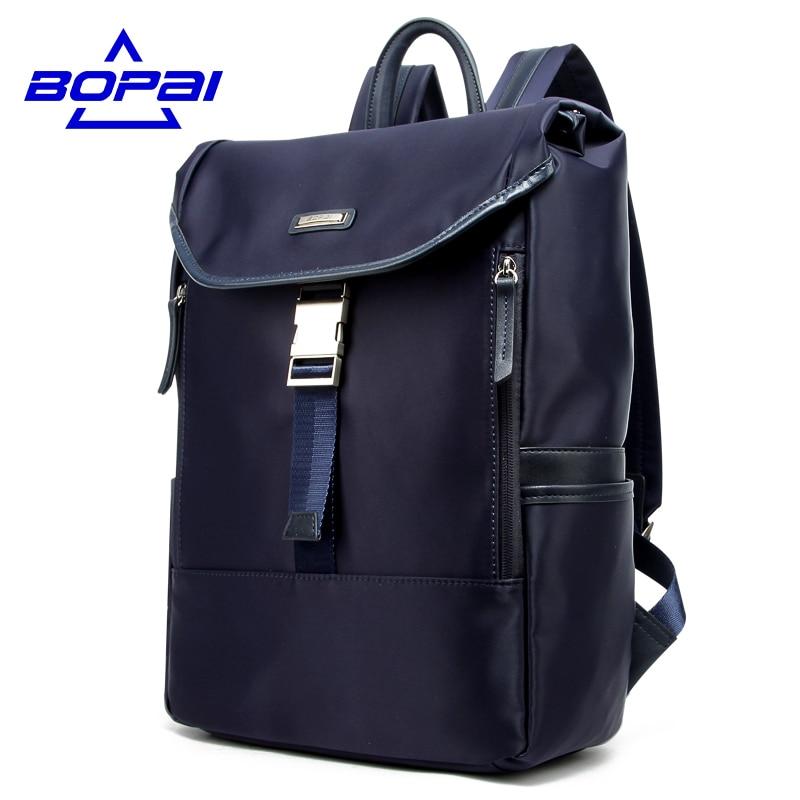 BOPAI Oxford Waterproof Travel Backpack Fashion Blue Men Daily Work Office Men Bags Nylon Laptop Backpack 14 inch School Bags 14 15 15 6 inch flax linen laptop notebook backpack bags case school backpack for travel shopping climbing men women