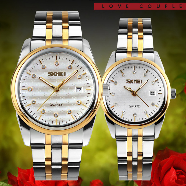 SKMEI Best Couple 304 stainless steel Band quartz watch men and women watches fa