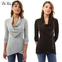 DeRuiLaDy Hoodies Women Sweatshirt Autumn Winter Long Sleeve Zipper Hooded Sudaderas Mujer Female Tracksuit Streetwear Tops