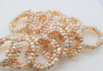 10pcs 3rows freshwater pearl white pink purple   7-8mm baroque bracelet 7.5inch wholesale beads nature FPPJ