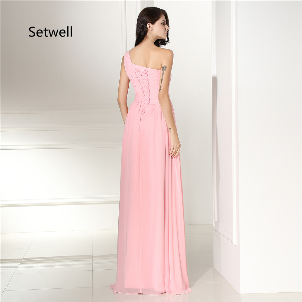 Setwell Cute Pink Simple One Shoulder Bridesmaid Dress Summer ...