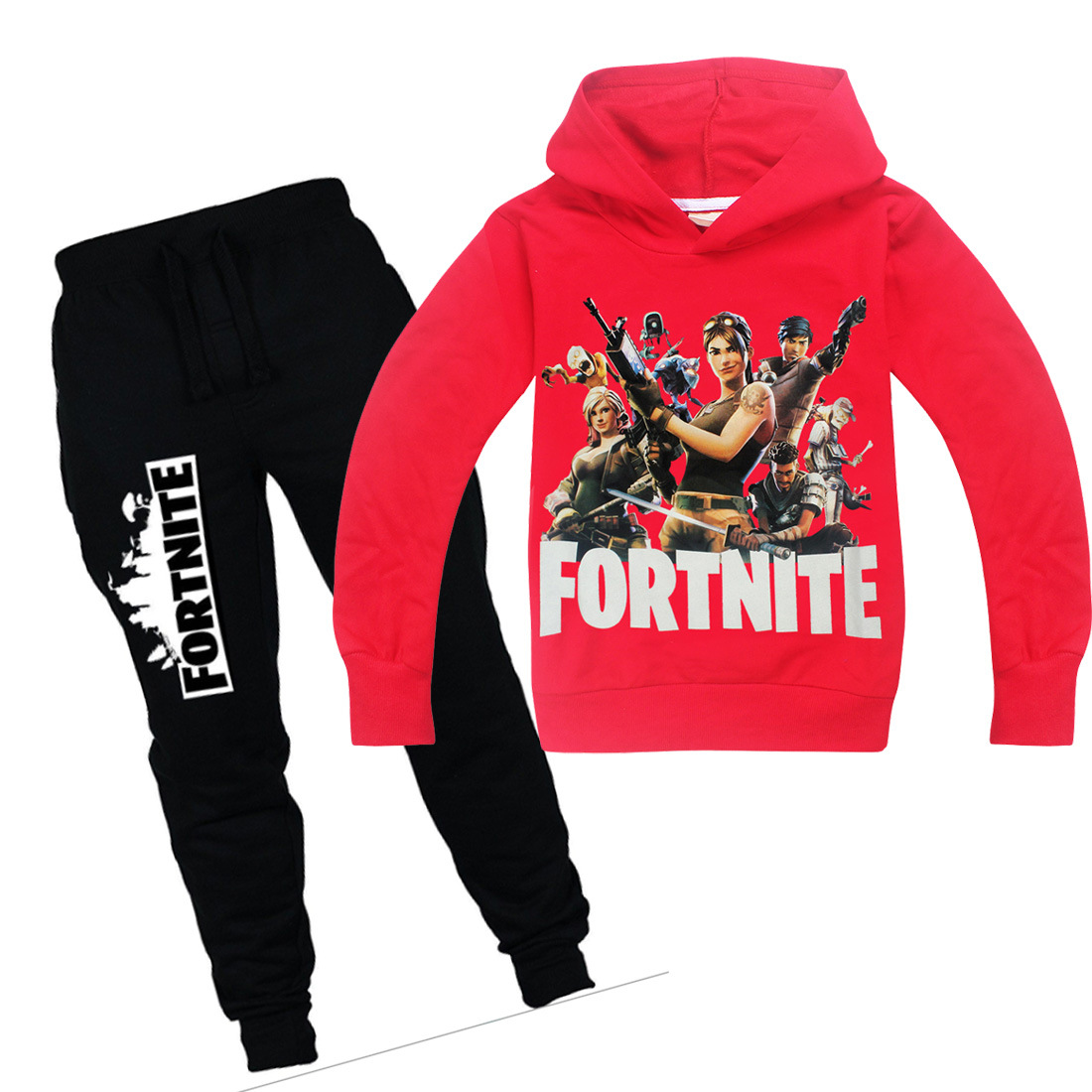 2018 Fortnite Style Clothing Set Hot Sale Pure Cotton Set T Shirt + trousers Pant Funny Youth Girls Boys Kids Sport Wear Clothes
