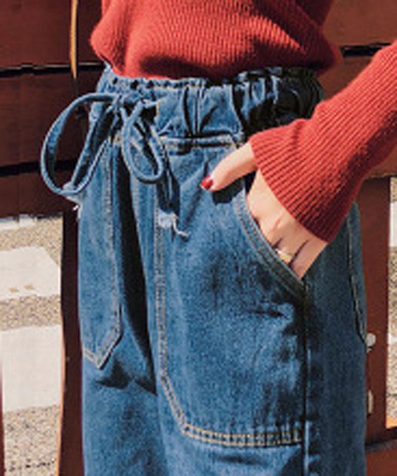Vaqueros Sueltos Cintura Alta Sólido Nuevas Con Casuales Primavera Dark Deawstring Y Blue Pantalones Mujeres Wkn619 2019 De Gran Las Hee Bolsillos qpwf404n