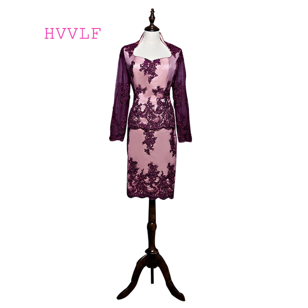 Burgundy 2019 Mother Of The Bride Dresses Sheath Long Sleeves Knee Length Lace Short Groom Formal Mother Dresses For Wedding
