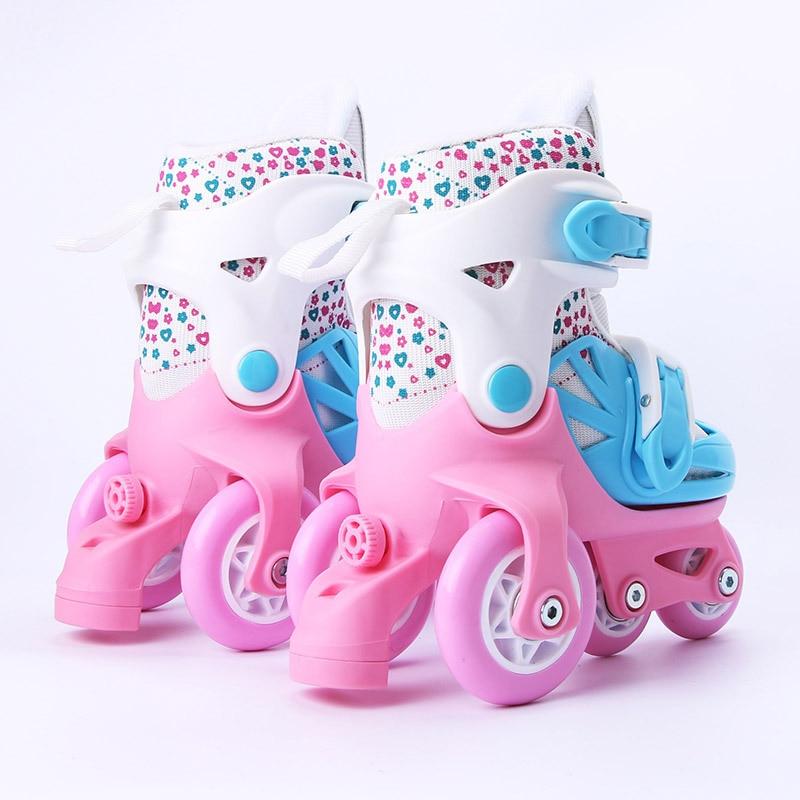 Дети милые стабильные слалом параллельные катания на коньках роликовые тормоза мигающая Обувь Регулируемая моющаяся Осенняя Предотвращение для девочек - 4