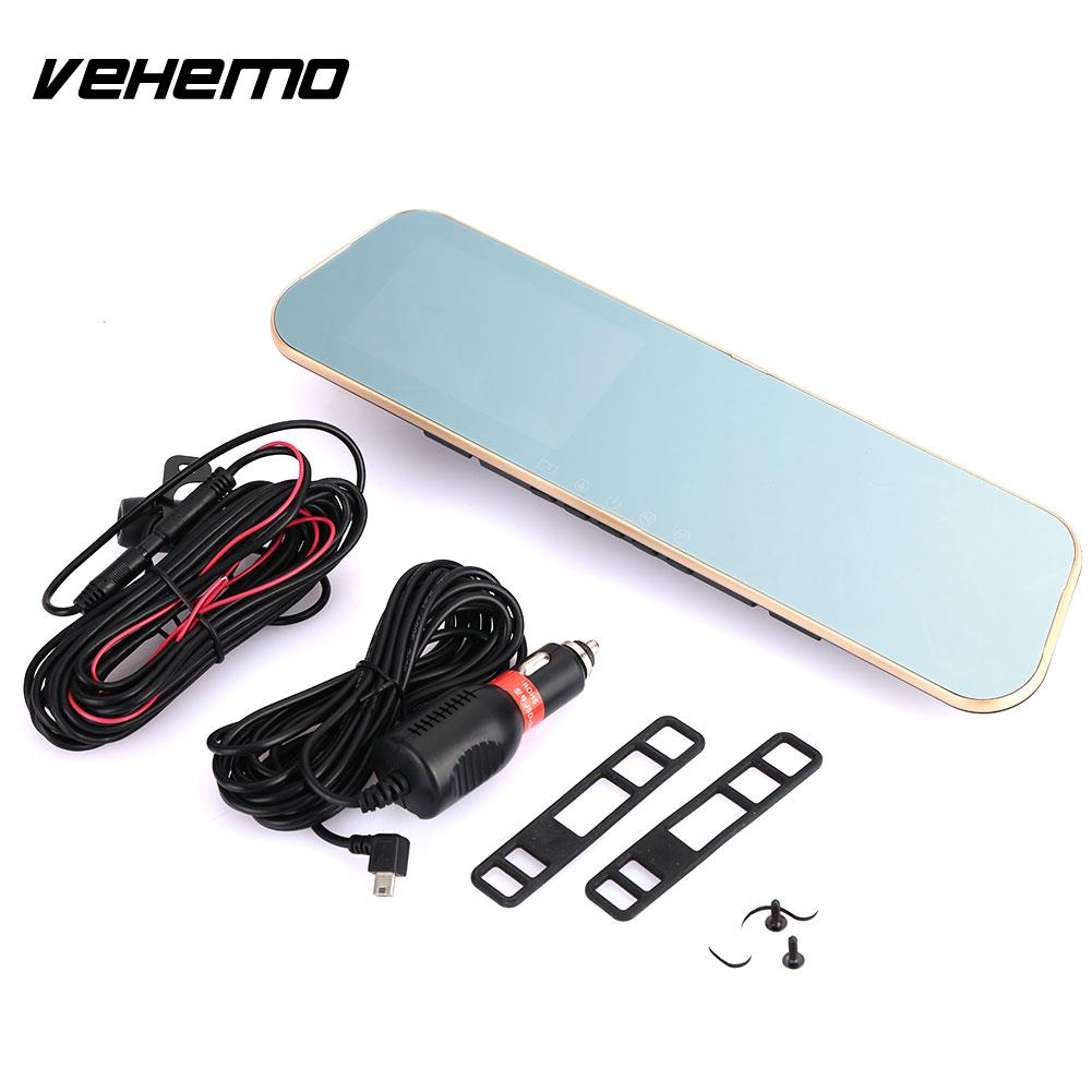Vehemo Touch Screen 4.3inches Rearview Mirror Car DVR Automobile Dash Cam Driving Recorder Auto On/Off HD1080P