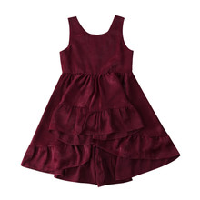 Helen115 Princess Kid baby girl clothes Sleeveless O neck Burgundy Dresses Outfits 1-6Years(China)