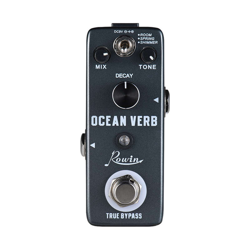 Rowin Ocean Verb Digital Reverb Guitar Effect Pedal 3 Modes Room/ Spring/ Shimmer Aluminum Alloy Shell True Bypass