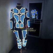 LED luminous /illuminated/glowing dance costumes/suits for men EL cold LED strip Mandarin Collar Zipper Carnival Party Dress