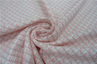 Free ship fabric pink and white check weaved with ribbon price for 1 meter 59