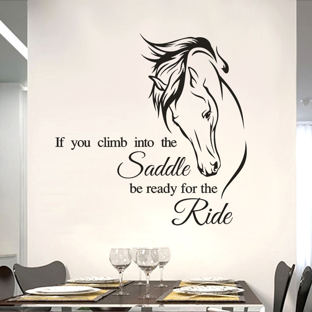If You Climb Into Saddle Quote Horse Riding Sport Wall Sticker