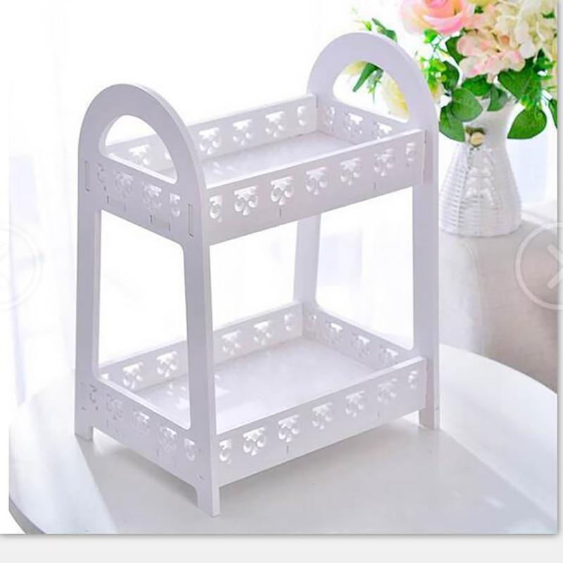 Elegant Desktop Storage Shelf Carving Double Layer Storage Holder Small Book Shelf Flower Rack Makeup Organizer Kitchen